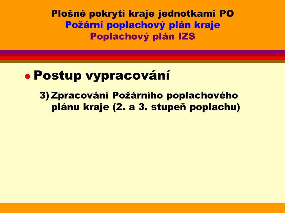 Plošné pokrytí kraje jednotkami PO Požární poplachový plán kraje Poplachový plán IZS l Postup vypracování 3) Zpracování Požárního poplachového plánu kraje (2.