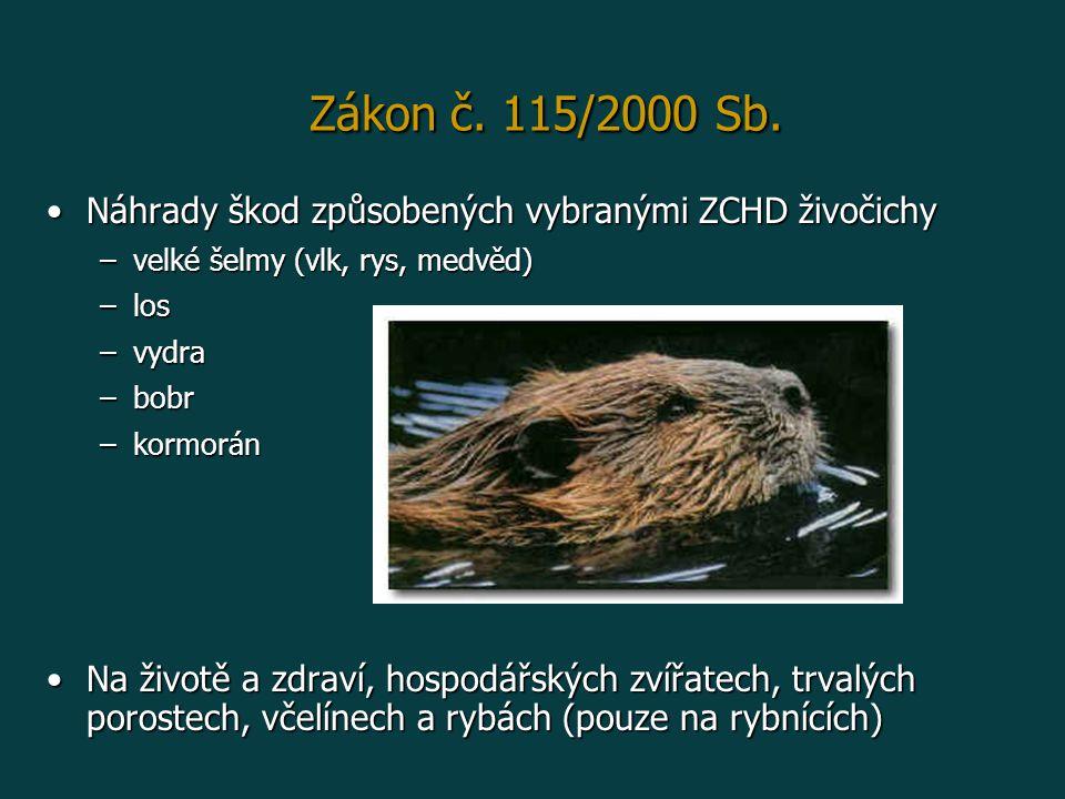 Náhrady škod způsobených vybranými ZCHD živočichyNáhrady škod způsobených vybranými ZCHD živočichy –velké šelmy (vlk, rys, medvěd) –los –vydra –bobr –kormorán Na životě a zdraví, hospodářských zvířatech, trvalých porostech, včelínech a rybách (pouze na rybnících)Na životě a zdraví, hospodářských zvířatech, trvalých porostech, včelínech a rybách (pouze na rybnících) Zákon č.