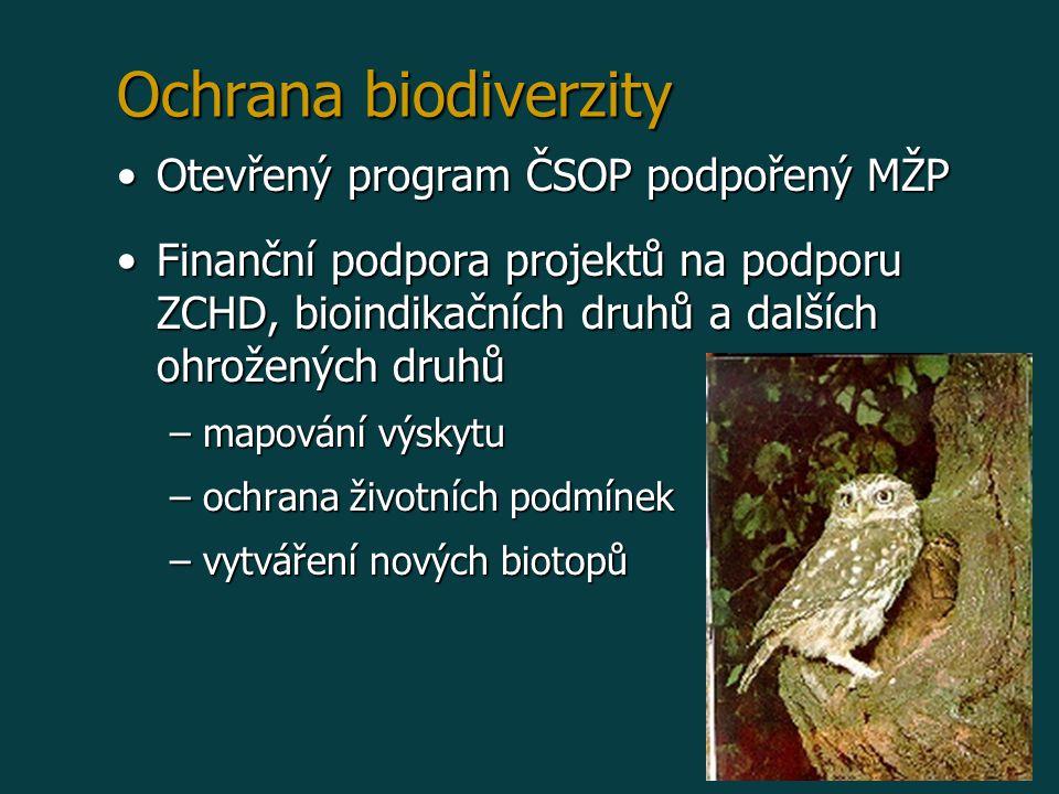 Ochrana biodiverzity Otevřený program ČSOP podpořený MŽPOtevřený program ČSOP podpořený MŽP Finanční podpora projektů na podporu ZCHD, bioindikačních druhů a dalších ohrožených druhůFinanční podpora projektů na podporu ZCHD, bioindikačních druhů a dalších ohrožených druhů –mapování výskytu –ochrana životních podmínek –vytváření nových biotopů