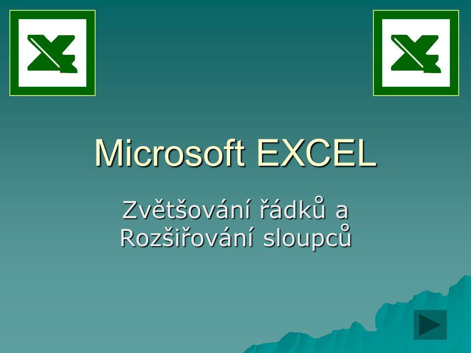 Microsoft EXCEL Zvětšování řádků a Rozšiřování sloupců