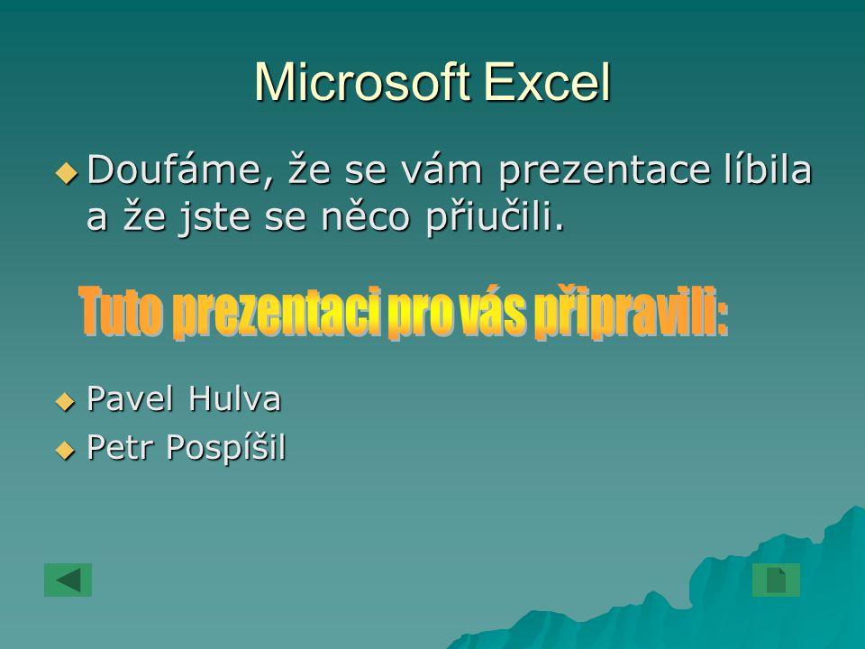 Microsoft Excel DDDDoufáme, že se vám prezentace líbila a že jste se něco přiučili. PPPPavel Hulva PPPPetr Pospíšil