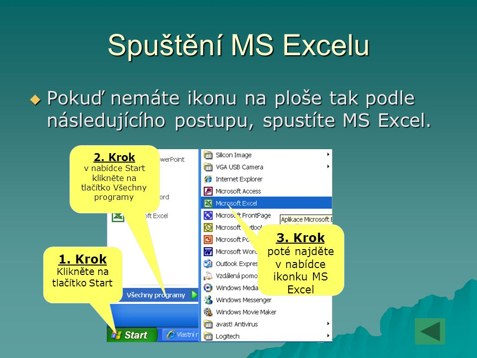 Spuštění MS Excelu PPPPokuď nemáte ikonu na ploše tak podle následujícího postupu, spustíte MS Excel. 2. Krok v nabídce Start klikněte na tlačítko