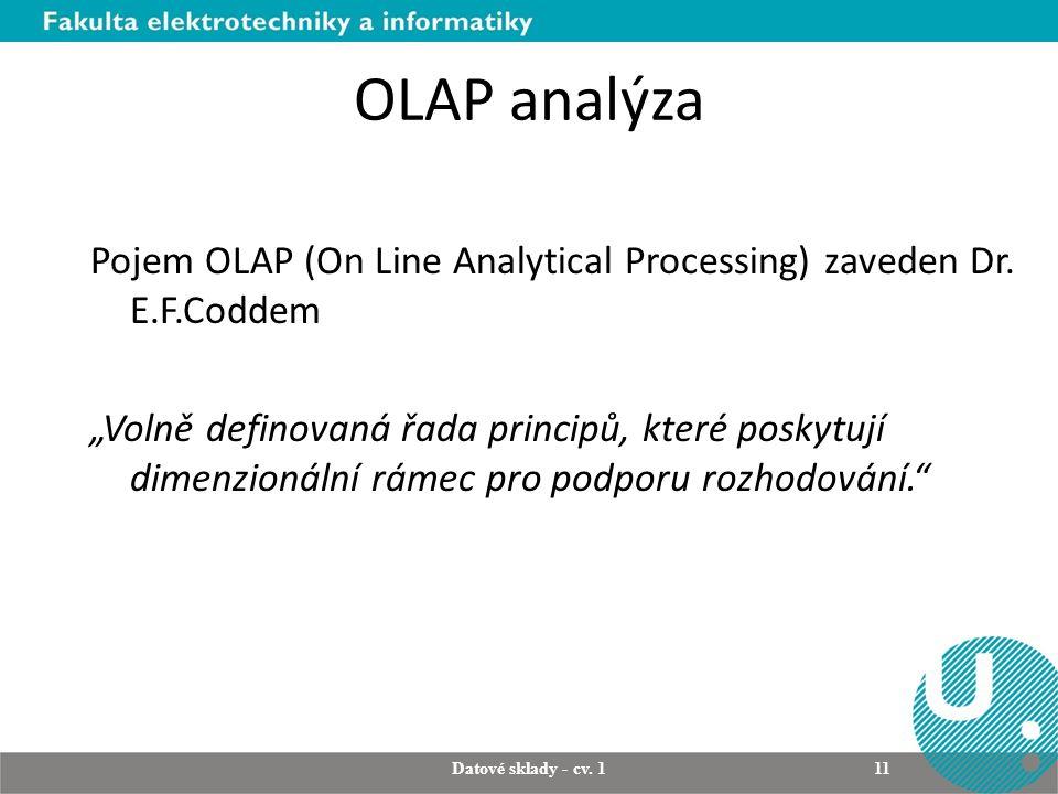 OLAP analýza Pojem OLAP (On Line Analytical Processing) zaveden Dr.