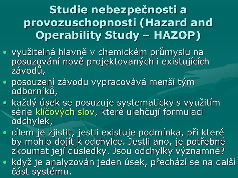 Studie nebezpečnosti a provozuschopnosti (Hazard and Operability Study – HAZOP) využitelná hlavně v chemickém průmyslu na posuzování nově projektovaný