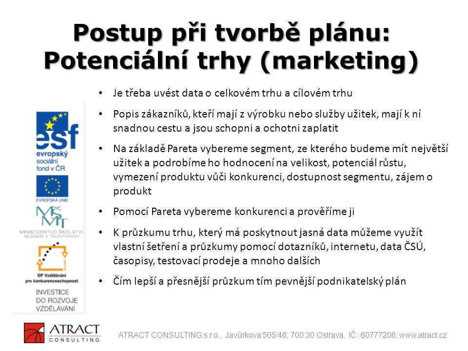 Je třeba uvést data o celkovém trhu a cílovém trhu Popis zákazníků, kteří mají z výrobku nebo služby užitek, mají k ní snadnou cestu a jsou schopni a