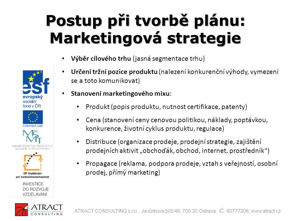 Výběr cílového trhu (jasná segmentace trhu) Určení tržní pozice produktu (nalezení konkurenční výhody, vymezení se a toto komunikovat) Stanovení marke