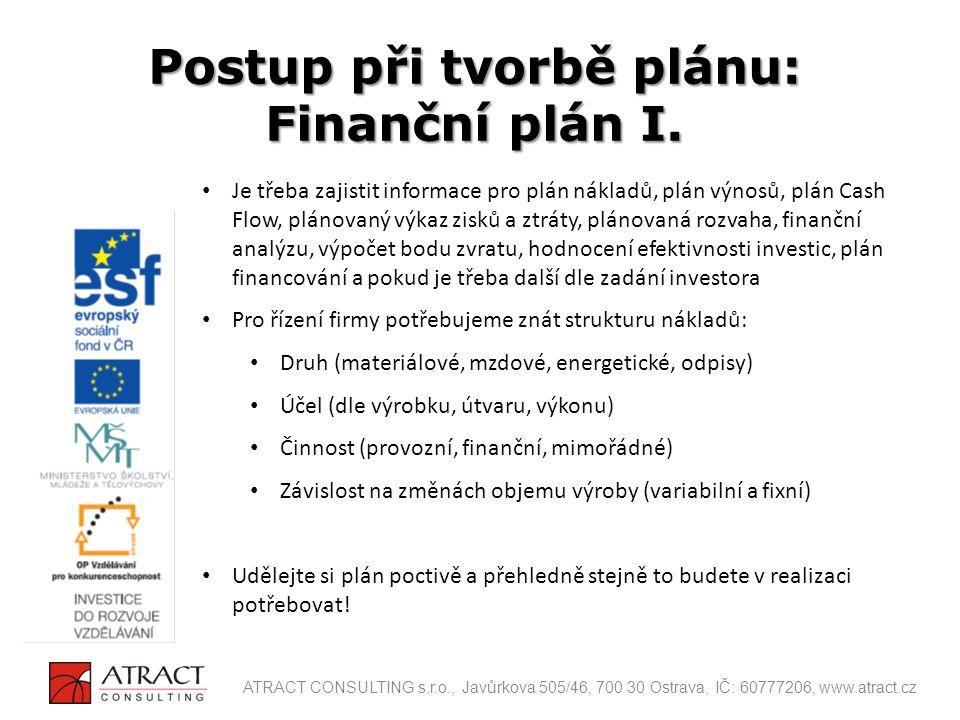 Je třeba zajistit informace pro plán nákladů, plán výnosů, plán Cash Flow, plánovaný výkaz zisků a ztráty, plánovaná rozvaha, finanční analýzu, výpoče