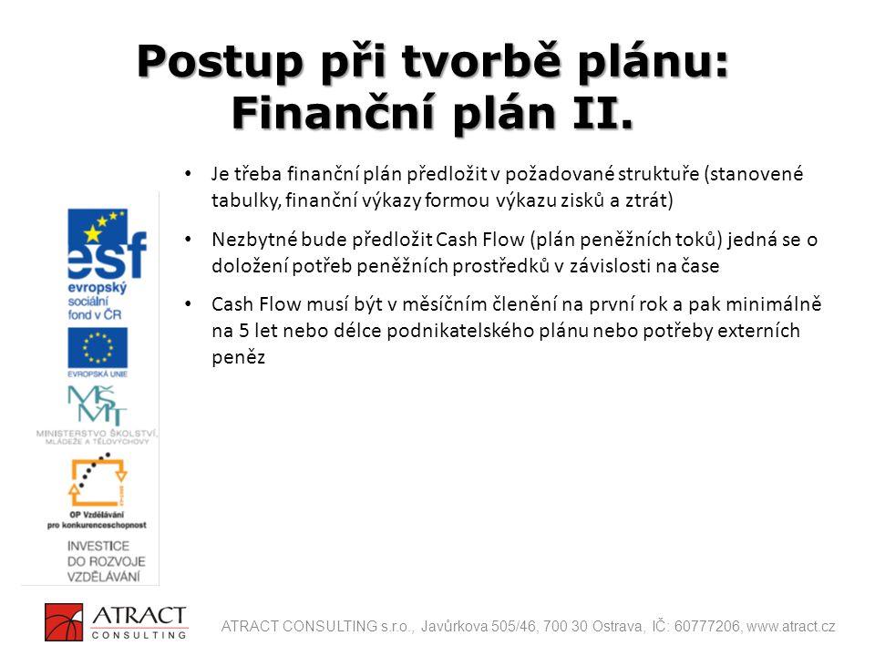 Je třeba finanční plán předložit v požadované struktuře (stanovené tabulky, finanční výkazy formou výkazu zisků a ztrát) Nezbytné bude předložit Cash