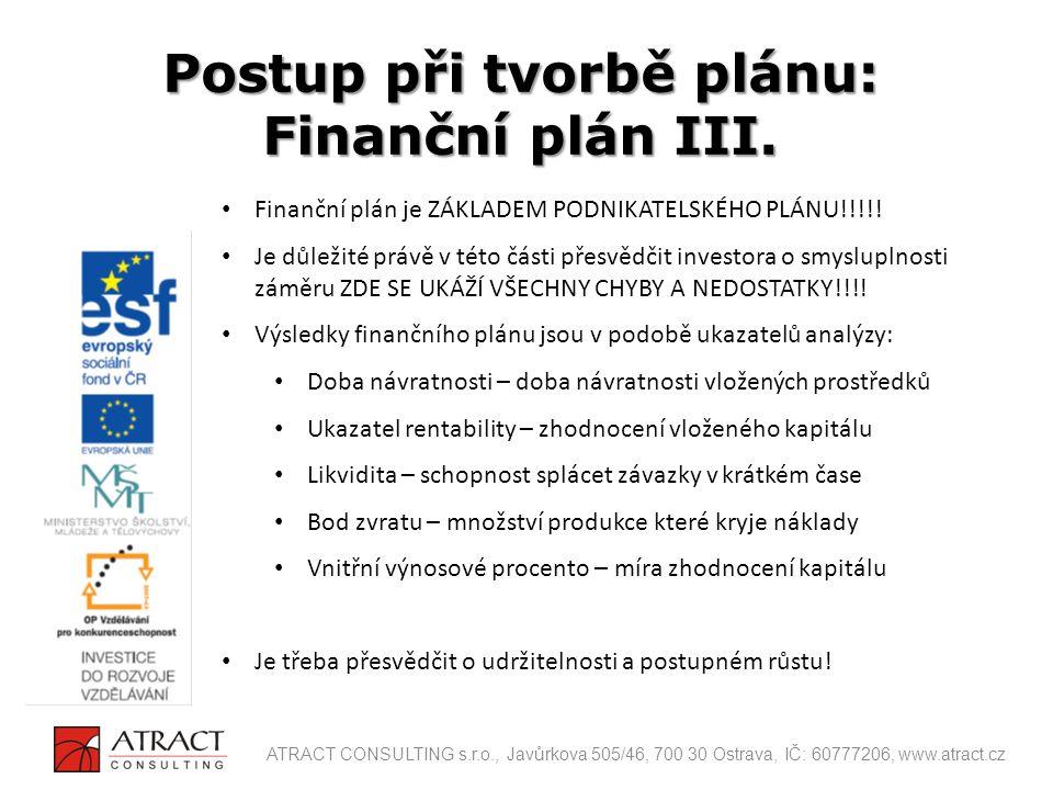 Finanční plán je ZÁKLADEM PODNIKATELSKÉHO PLÁNU!!!!! Je důležité právě v této části přesvědčit investora o smysluplnosti záměru ZDE SE UKÁŽÍ VŠECHNY C