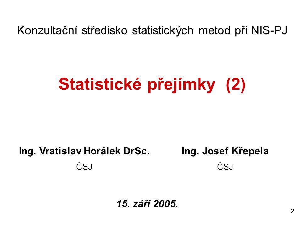 2 Konzultační středisko statistických metod při NIS-PJ Statistické přejímky (2) Ing. Vratislav Horálek DrSc. ČSJ Ing. Josef Křepela ČSJ 15. září 2005.