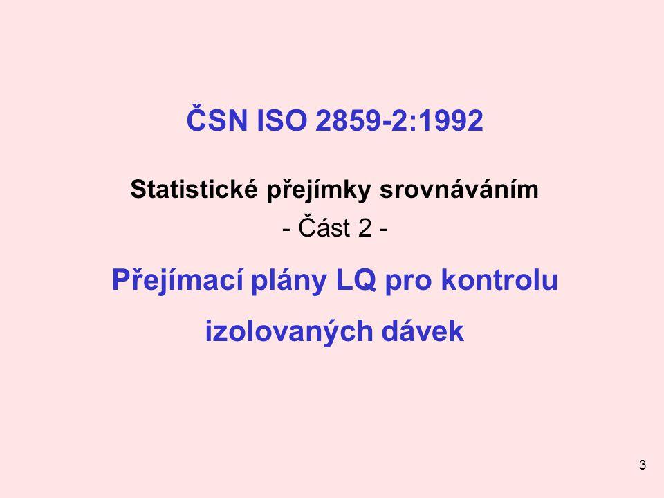 3 ČSN ISO 2859-2:1992 Statistické přejímky srovnáváním - Část 2 - Přejímací plány LQ pro kontrolu izolovaných dávek