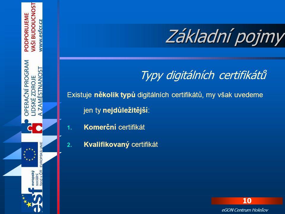9 eGON Centrum Holešov Digitální certifikát je datový soubor jako každý jiný, proto musí být také zajištěn proti zfalšování. Z tohoto důvodu certifika