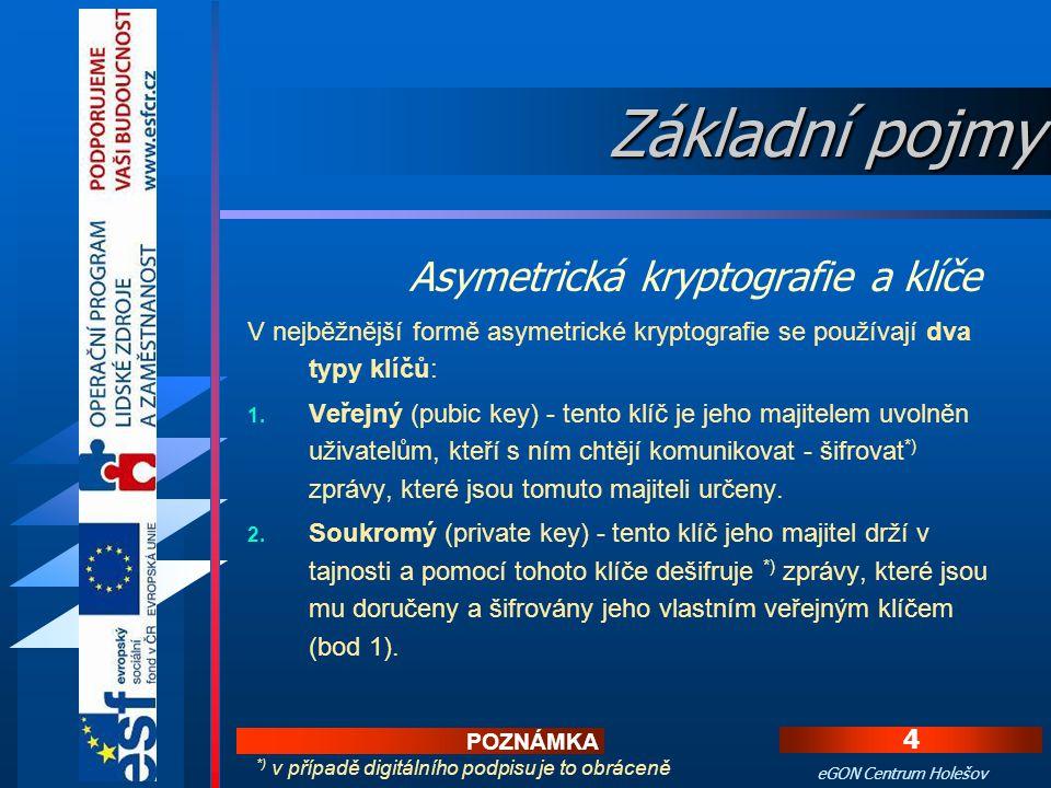 4 eGON Centrum Holešov V nejběžnější formě asymetrické kryptografie se používají dva typy klíčů: 1.