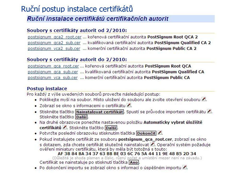 41 eGON Centrum Holešov V opačném případě toto tlačítko není přístupné a je nutné provést ruční postup instalace certifikátů, který je na stránce rovn