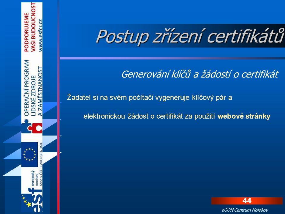 43 eGON Centrum Holešov Vydání certifikátů je připraveno až po obdržení eMailu od certifikační autority, kde informuje, že žadatel byl zaveden do syst