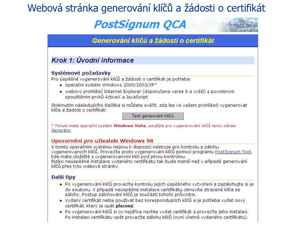 44 eGON Centrum Holešov Žadatel si na svém počítači vygeneruje klíčový pár a elektronickou žádost o certifikát za použití webové stránky Generování kl