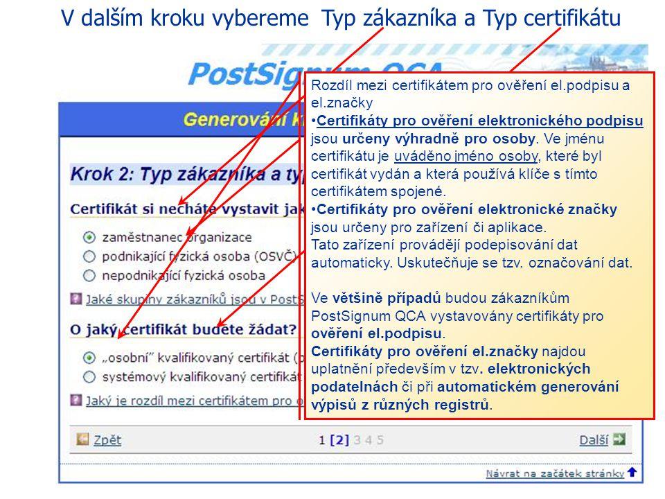 Webová stránka generování klíčů a žádosti o certifikát