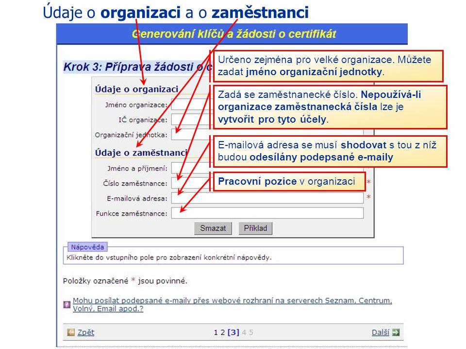 47 eGON Centrum Holešov V dalším kroku vybereme údaje o organizaci a údaje o zaměstnanci Generování klíčů a žádostí o certifikát Postup zřízení certif