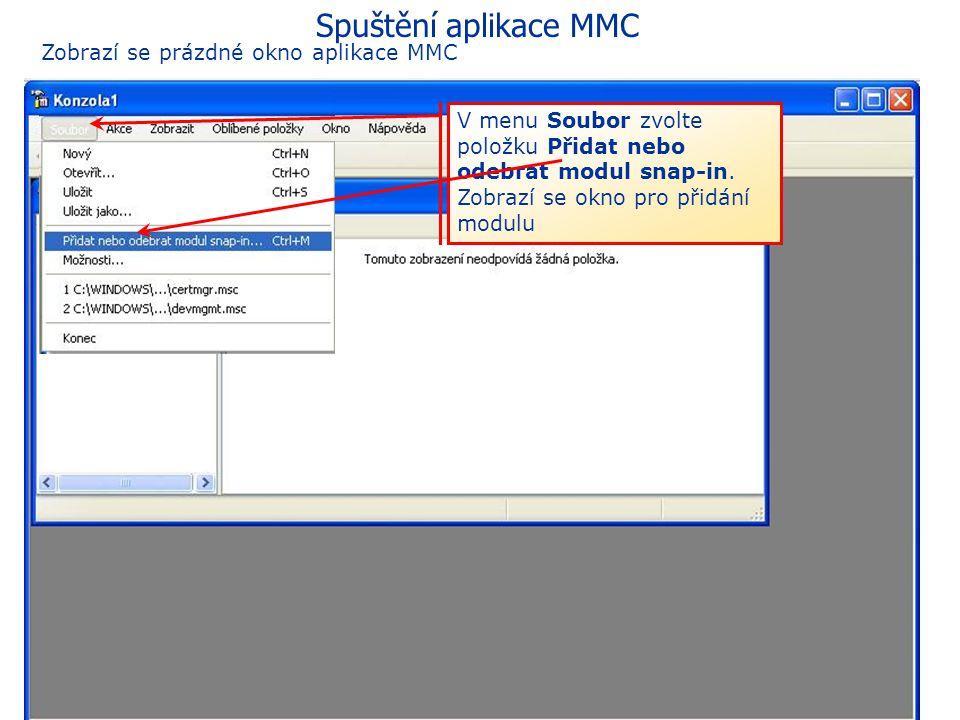 57 eGON Centrum Holešov Pokud se nezobrazí tento obrázek, klikněte v nabídce Start znovu na položku Spustit. Zadejte text MMC a stiskněte tlačítko OK.