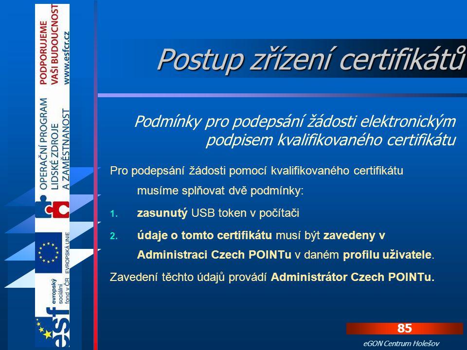 Používání certifikátů v prostředí Czech POINT Po úspěšném přihlášení se zobrazí standardní nabídka pracovních formulářů aplikace Czech POINT.