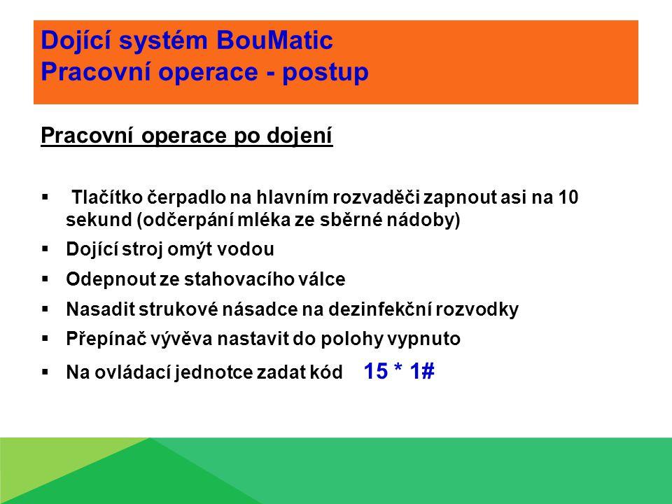 Dojící systém BouMatic Pracovní operace - postup Pracovní operace po dojení  Tlačítko čerpadlo na hlavním rozvaděči zapnout asi na 10 sekund (odčerpá