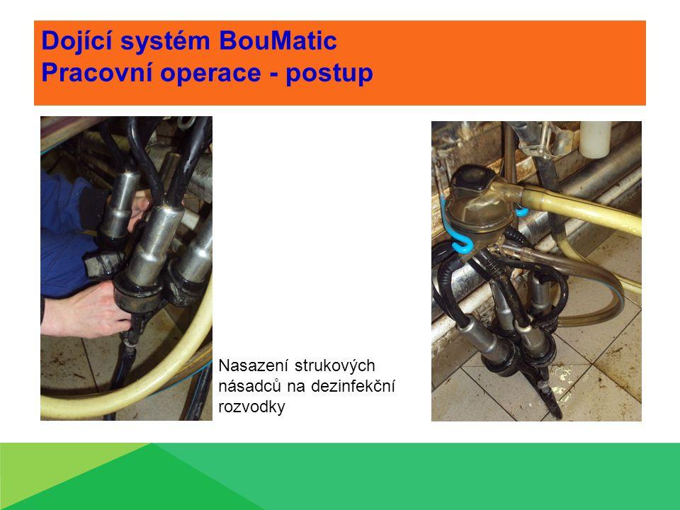 Dojící systém BouMatic Pracovní operace - postup Nasazení strukových násadců na dezinfekční rozvodky