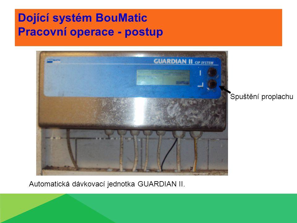 Dojící systém BouMatic Pracovní operace - postup Automatická dávkovací jednotka GUARDIAN II. Spuštění proplachu