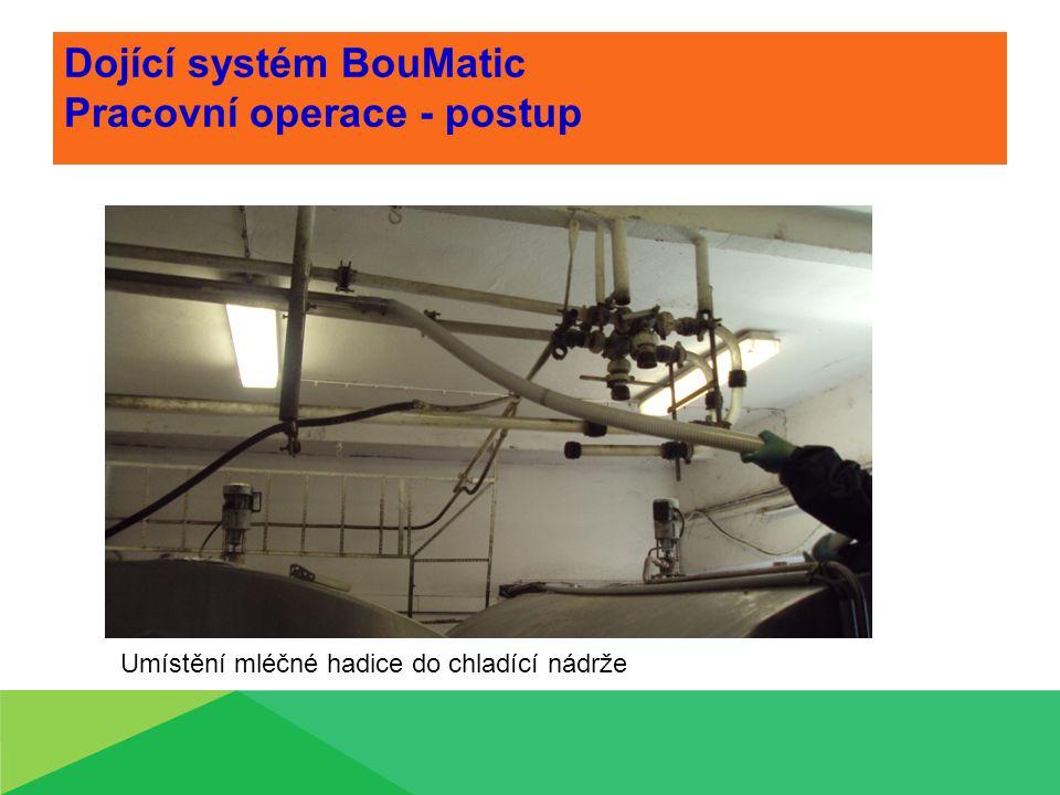 Dojící systém BouMatic Pracovní operace - postup Umístění mléčné hadice do chladící nádrže