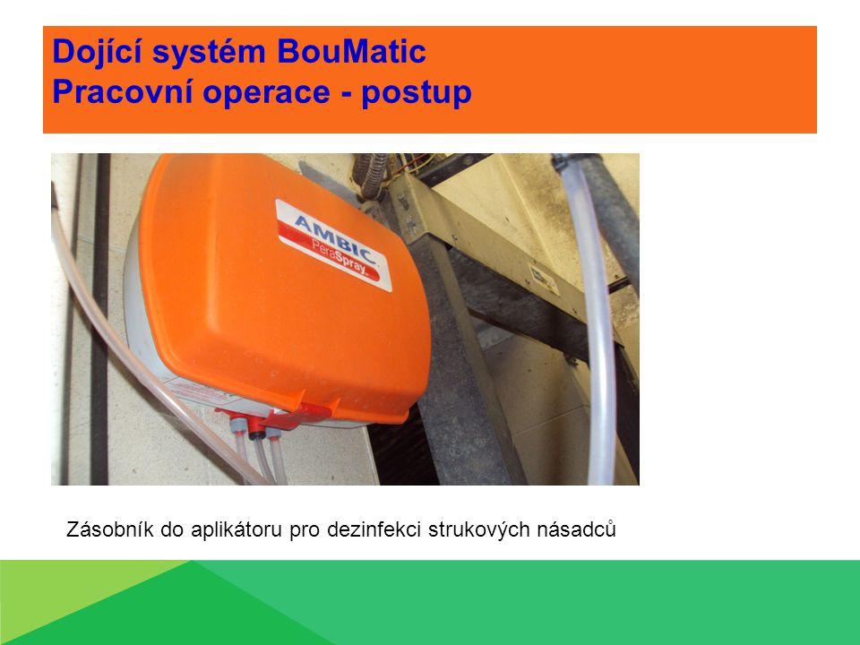 Dojící systém BouMatic Pracovní operace - postup Zásobník do aplikátoru pro dezinfekci strukových násadců
