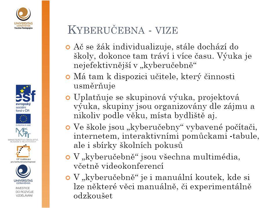 K YBERUČEBNA - VIZE Ač se žák individualizuje, stále dochází do školy, dokonce tam tráví i více času.