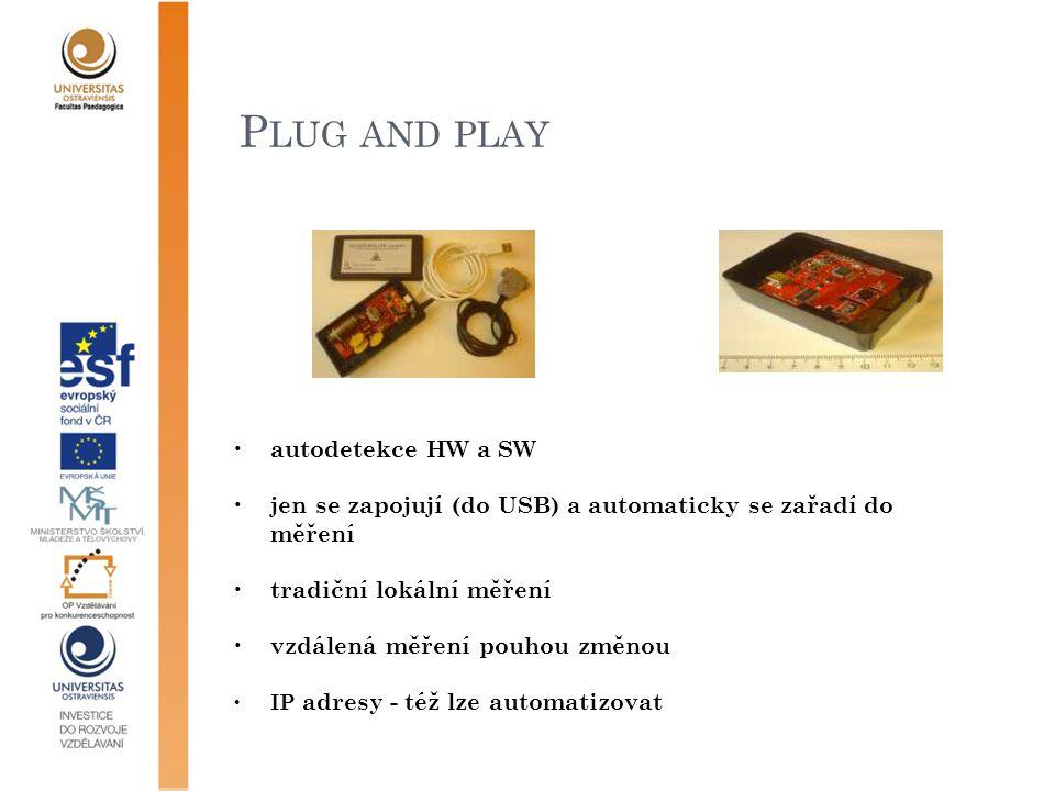 P LUG AND PLAY autodetekce HW a SW jen se zapojují (do USB) a automaticky se zařadí do měření tradiční lokální měření vzdálená měření pouhou změnou IP adresy - též lze automatizovat