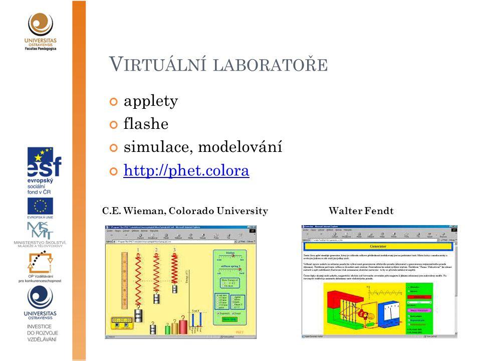 V IRTUÁLNÍ LABORATOŘE applety flashe simulace, modelování http://phet.colora Walter FendtC.E.