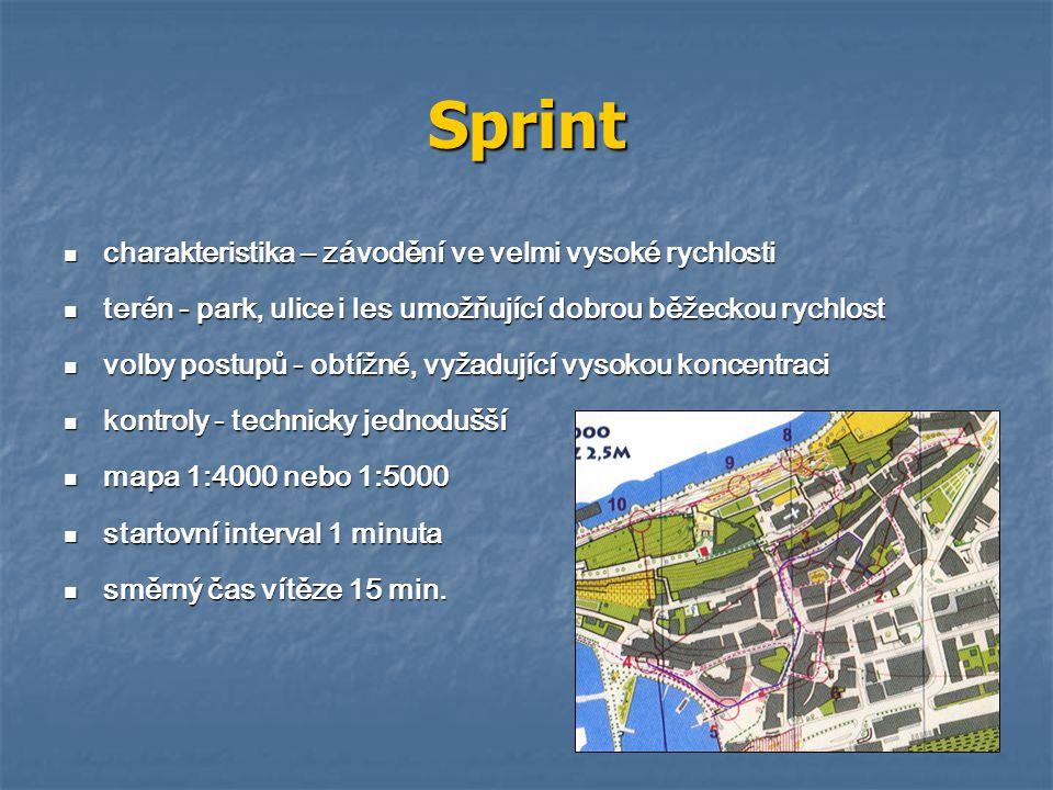 Sprint charakteristika – závodění ve velmi vysoké rychlosti charakteristika – závodění ve velmi vysoké rychlosti terén - park, ulice i les umožňující