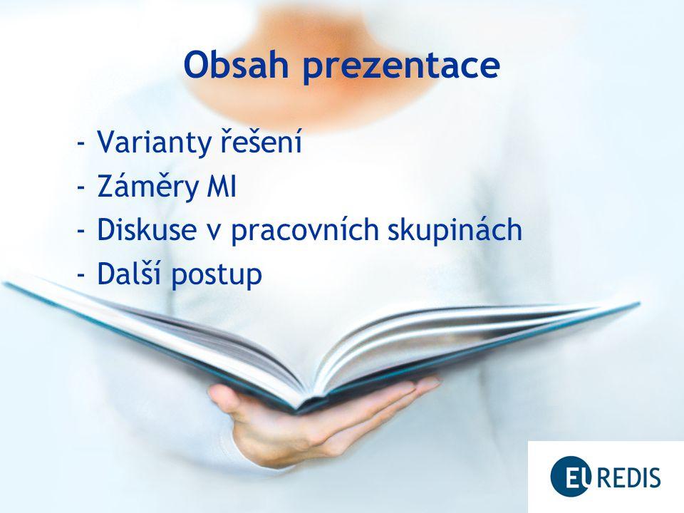 Obsah prezentace -Varianty řešení -Záměry MI -Diskuse v pracovních skupinách -Další postup