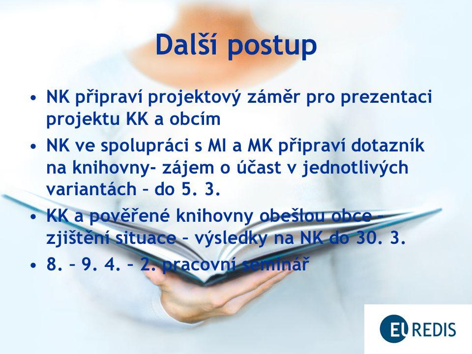 Další postup NK připraví projektový záměr pro prezentaci projektu KK a obcím NK ve spolupráci s MI a MK připraví dotazník na knihovny- zájem o účast v jednotlivých variantách – do 5.
