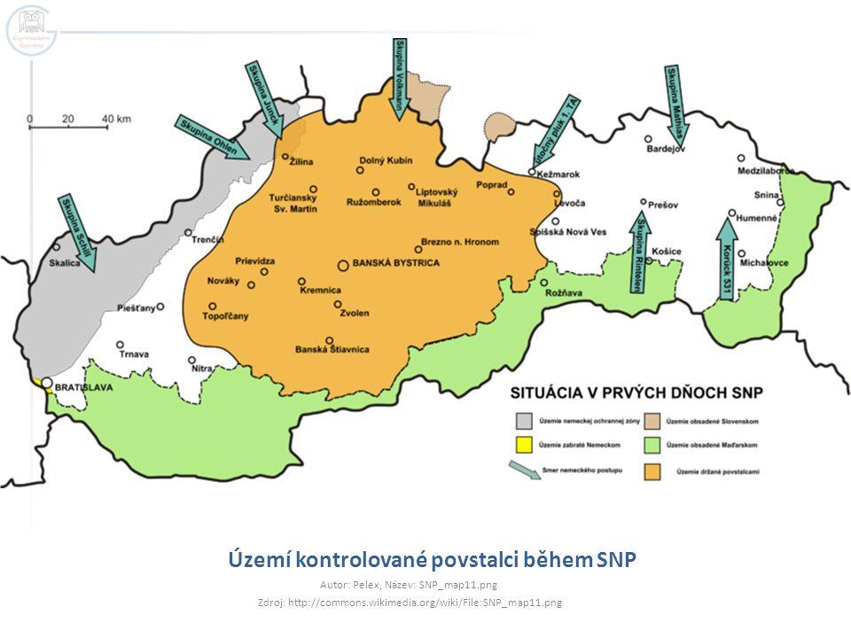 Území kontrolované povstalci během SNP Autor: Pelex, Název: SNP_map11.png Zdroj: http://commons.wikimedia.org/wiki/File:SNP_map11.png