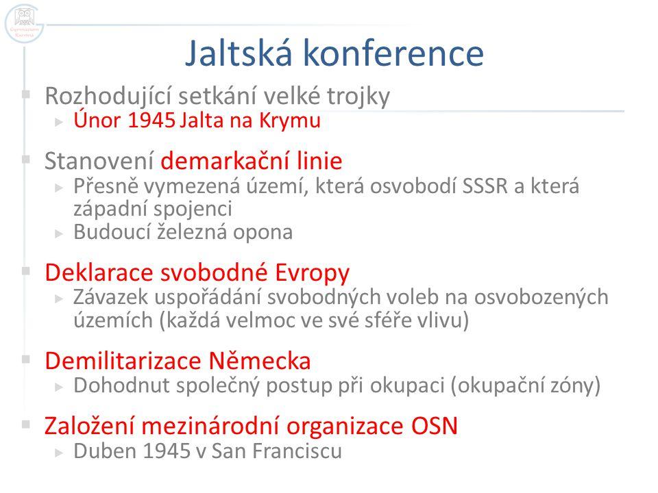 Jaltská konference  Rozhodující setkání velké trojky  Únor 1945 Jalta na Krymu  Stanovení demarkační linie  Přesně vymezená území, která osvobodí