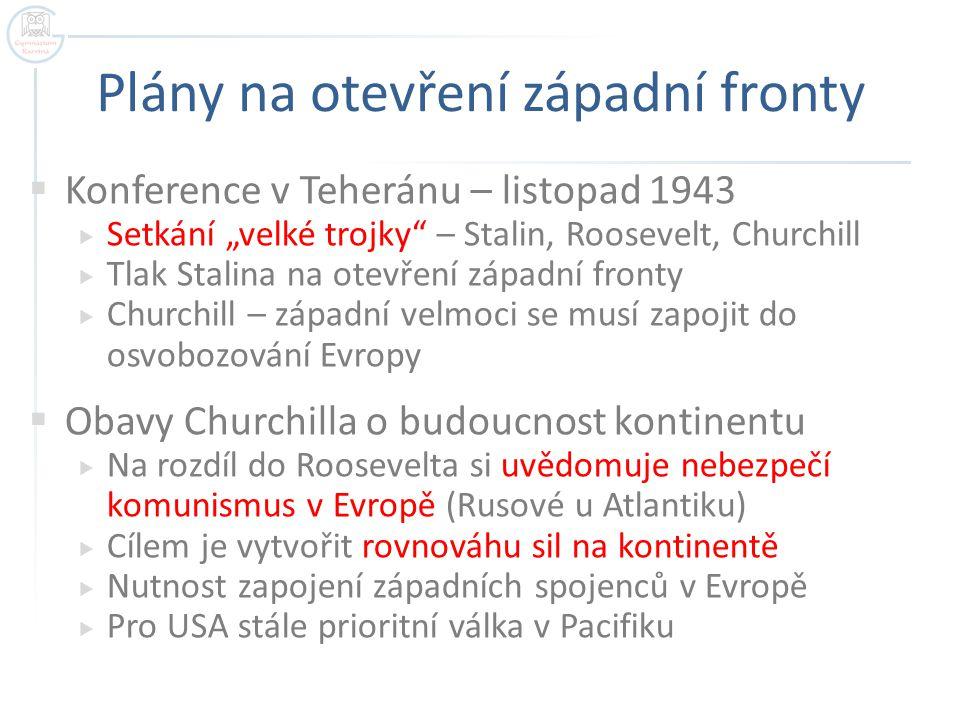 Jaltská konference  Rozhodující setkání velké trojky  Únor 1945 Jalta na Krymu  Stanovení demarkační linie  Přesně vymezená území, která osvobodí SSSR a která západní spojenci  Budoucí železná opona  Deklarace svobodné Evropy  Závazek uspořádání svobodných voleb na osvobozených územích (každá velmoc ve své sféře vlivu)  Demilitarizace Německa  Dohodnut společný postup při okupaci (okupační zóny)  Založení mezinárodní organizace OSN  Duben 1945 v San Franciscu