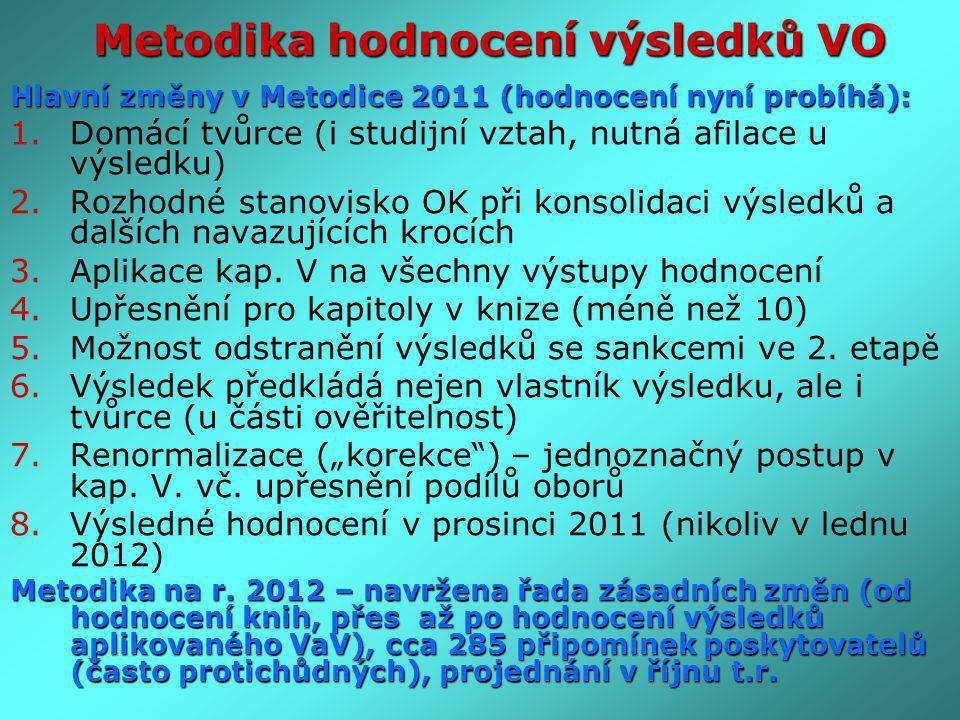 Hlavní změny v Metodice 2011 (hodnocení nyní probíhá): 1.Domácí tvůrce (i studijní vztah, nutná afilace u výsledku) 2.Rozhodné stanovisko OK při konso