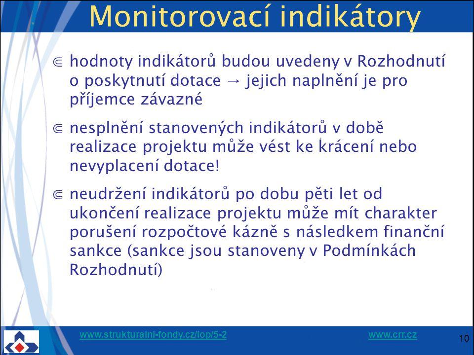 www.strukturalni-fondy.cz/iop/5-2www.strukturalni-fondy.cz/iop/5-2 www.crr.czwww.crr.cz 10 Monitorovací indikátory ⋐hodnoty indikátorů budou uvedeny v Rozhodnutí o poskytnutí dotace → jejich naplnění je pro příjemce závazné ⋐nesplnění stanovených indikátorů v době realizace projektu může vést ke krácení nebo nevyplacení dotace.