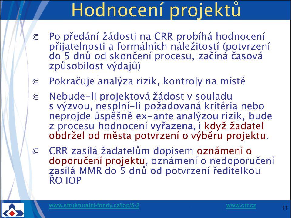 www.strukturalni-fondy.cz/iop/5-2www.strukturalni-fondy.cz/iop/5-2 www.crr.czwww.crr.cz 11 Hodnocení projektů ⋐Po předání žádosti na CRR probíhá hodnocení přijatelnosti a formálních náležitostí (potvrzení do 5 dnů od skončení procesu, začíná časová způsobilost výdajů) ⋐Pokračuje analýza rizik, kontroly na místě ⋐Nebude-li projektová žádost v souladu s výzvou, nesplní-li požadovaná kritéria nebo neprojde úspěšně ex-ante analýzou rizik, bude z procesu hodnocení vyřazena, i když žadatel obdržel od města potvrzení o výběru projektu.