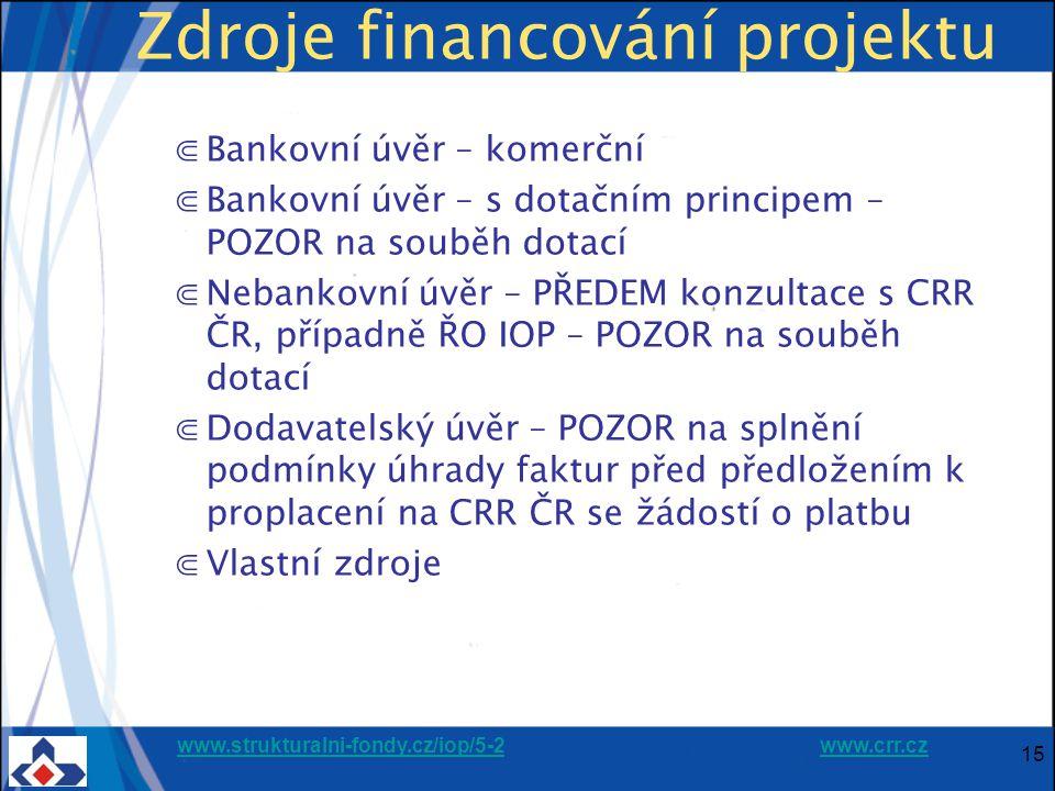 www.strukturalni-fondy.cz/iop/5-2www.strukturalni-fondy.cz/iop/5-2 www.crr.czwww.crr.cz 15 Zdroje financování projektu ⋐Bankovní úvěr – komerční ⋐Bankovní úvěr – s dotačním principem – POZOR na souběh dotací ⋐Nebankovní úvěr – PŘEDEM konzultace s CRR ČR, případně ŘO IOP – POZOR na souběh dotací ⋐Dodavatelský úvěr – POZOR na splnění podmínky úhrady faktur před předložením k proplacení na CRR ČR se žádostí o platbu ⋐Vlastní zdroje