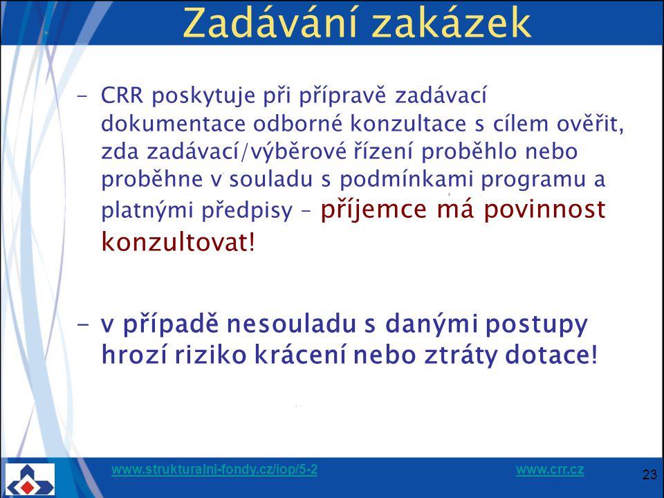 www.strukturalni-fondy.cz/iop/5-2www.strukturalni-fondy.cz/iop/5-2 www.crr.czwww.crr.cz 23 Zadávání zakázek -CRR poskytuje při přípravě zadávací dokumentace odborné konzultace s cílem ověřit, zda zadávací/výběrové řízení proběhlo nebo proběhne v souladu s podmínkami programu a platnými předpisy – příjemce má povinnost konzultovat.