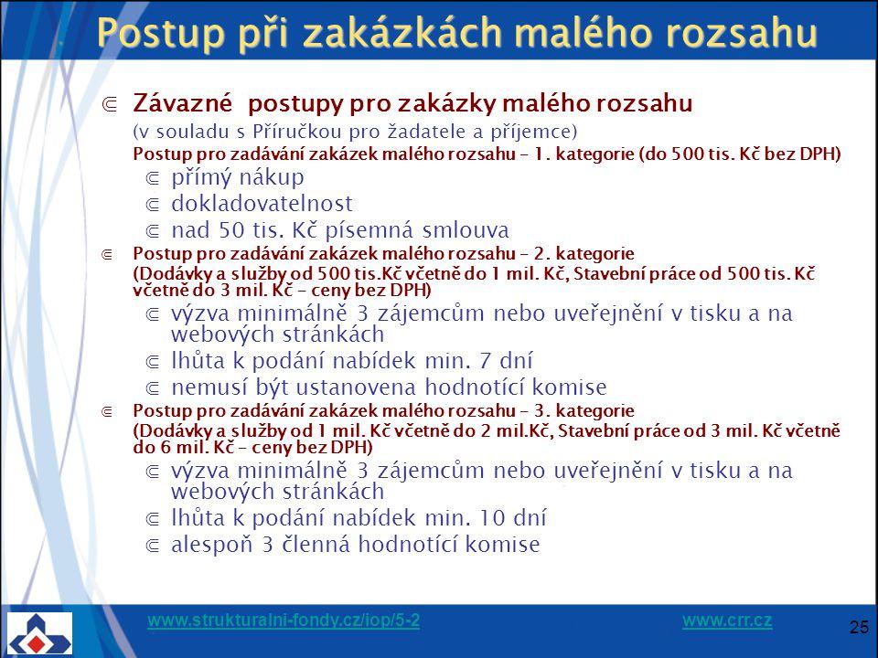 www.strukturalni-fondy.cz/iop/5-2www.strukturalni-fondy.cz/iop/5-2 www.crr.czwww.crr.cz 25 Postup při zakázkách malého rozsahu ⋐Závazné postupy pro zakázky malého rozsahu (v souladu s Příručkou pro žadatele a příjemce) Postup pro zadávání zakázek malého rozsahu – 1.