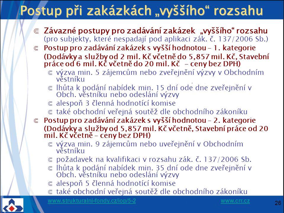 """www.strukturalni-fondy.cz/iop/5-2www.strukturalni-fondy.cz/iop/5-2 www.crr.czwww.crr.cz 26 Postup při zakázkách """"vyššího rozsahu ⋐Závazné postupy pro zadávání zakázek """"vyššího rozsahu (pro subjekty, které nespadají pod aplikaci zák."""