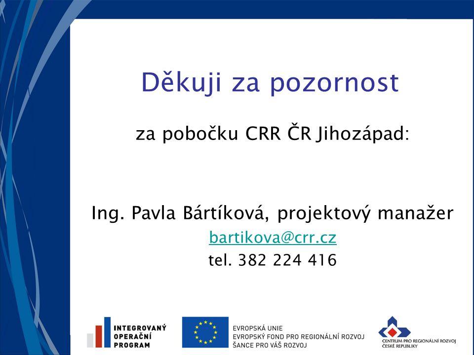 Děkuji za pozornost za pobočku CRR ČR Jihozápad: Ing.