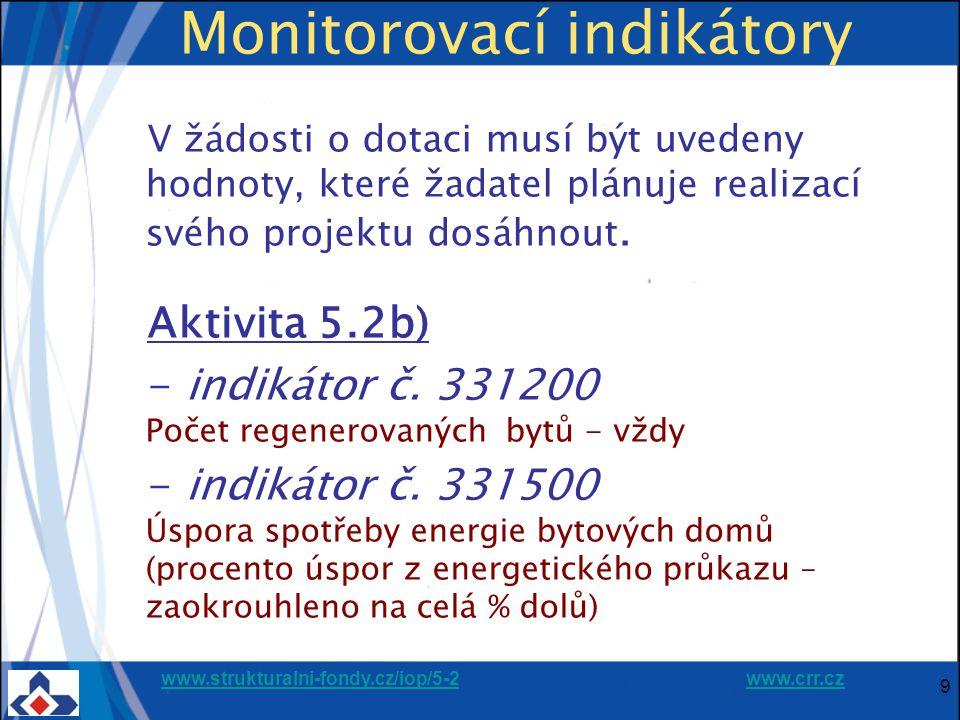 www.strukturalni-fondy.cz/iop/5-2www.strukturalni-fondy.cz/iop/5-2 www.crr.czwww.crr.cz 9 Monitorovací indikátory V žádosti o dotaci musí být uvedeny hodnoty, které žadatel plánuje realizací svého projektu dosáhnout.