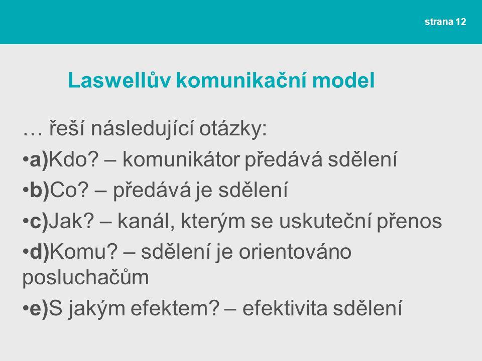 Laswellův komunikační model … řeší následující otázky: a)Kdo.