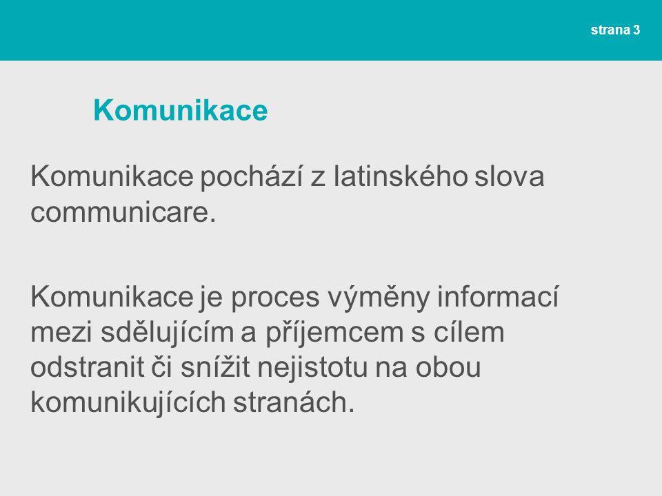 Komunikace Komunikace pochází z latinského slova communicare.