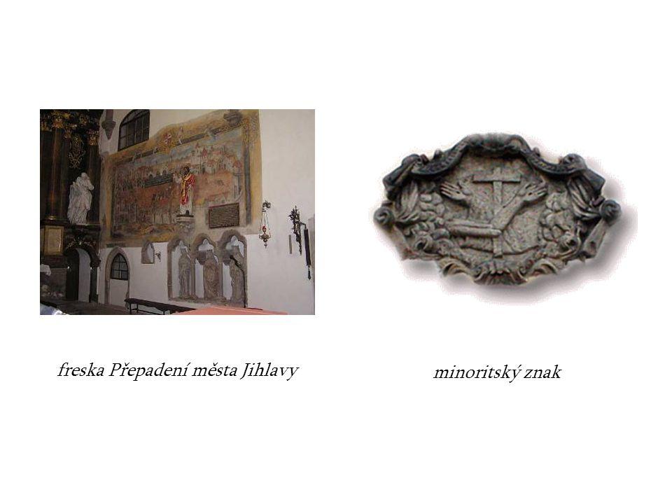 freska Přepadení města Jihlavy minoritský znak
